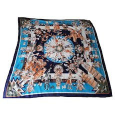 "Faux Hermes 100% Silk Scarf Made In France 48"" x 48"""