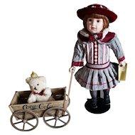 """Vintage 19"""" Ltd Edition Coca-Cola/Franklin Heirloom Doll """"Megan"""" w/Wagon & Bear"""