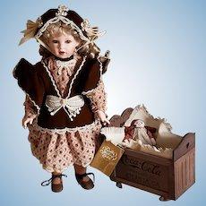 "Franklin Heirloom Doll ""Sarah"" 20"" Porcelain Doll Coca-Cola 1995 - NEW"