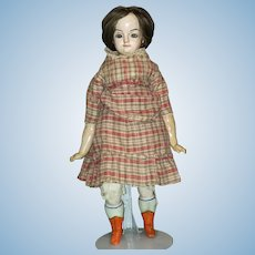 "Antique 25"" Wax Over Paper Mache Doll"