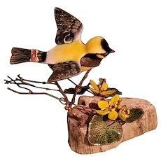 Norman Brumm Enamel on Copper Sculpture Signed Bird & Flowers Burl Wood Base