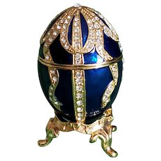 Russian Faberge Blue Egg Replica with gold lines and gems