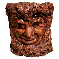 Vintage Carved Face Planter/Candle Holder