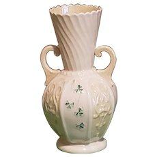 """Vintage Belleek Shamrock Panel Flower 8"""" Vase/Urn w/Handles Excellent Condition"""