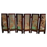 Vintage Asian Carved Cork, Lacquer/Glass Miniature 6 Panel Screen Diorama Sculpture