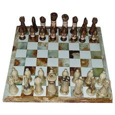 Large Marble Chess Board w/Vintage Hand-Painted Ceramic Duncan Mold Chess Set