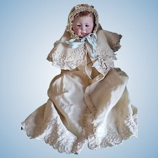 """12"""" Simon & Halbig Bisque Head Character Baby W/ Original SKIN WIG Antique Clothing"""