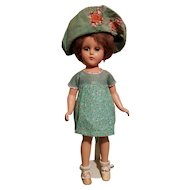 """Vintage 14"""" All Composition Blue Sleep Eyed Doll - MINTY w/Vintage Clothing"""