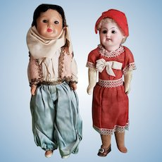 Pair of Vintage French Bisque Head Composition Dolls