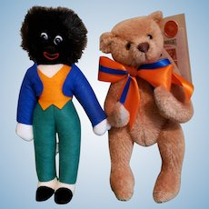 Vintage MERRYTHOUGHT Play Mates: Teddy Bear & Golliwog Limited Edition Set, Boxed W/ Tags