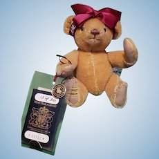 """Merrythought LE 1993 UFDC Convention 9"""" Mohair Teddy Passport Bear """"Isabel"""""""