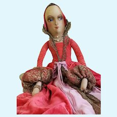 """1930's 30"""" Boudoir Doll, All Cloth with Mask Face & Pearls"""