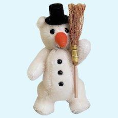 Vintage Steiff LITTLE SNOWMAN Ornament/Teddy Bear, Mint in Box w/COA