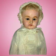 "19"" German Patent Washable Papier Mache Shoulder Head Doll w/Working Crier"