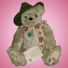 """16"""" Hermann The Happy Wanderer Mohair Musical Bear Ltd Ed -6064/13000"""