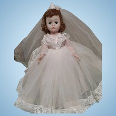 """Vintage Madame Alexander 9"""" Cissette Bride Doll in Victorian Style Wedding Gown Outfit + 2 Outfits"""