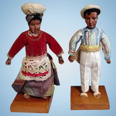 Antique, Two carved wooden 9'' dolls from Brazil Circa 1920