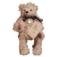 """Hermann Millennium Teddy Bear Shaggy Beige Mohair 50cm (20i"""") w/ Time Capsule LE 2000"""