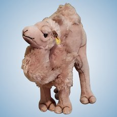 "Vintage  Steiff Cosy Camel Dralon Plush 11"" Two humps Early 1970's w/Button"