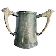 Antique 1885 English Pewter Rowing Trophy with Antler Handles