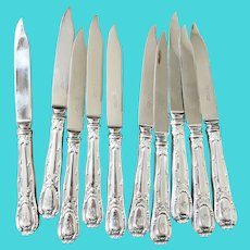 Set of 10 Antique Silver Plated Tiffany & Co Salad Fruit or Breakfast Knives