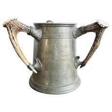 Antique 1906 Pewter Eton Rowing Trophy with Antler Handles