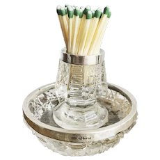 1903 English Sterling Silver and Glass Match Striker