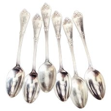 Set of 6 Antique 1888 Tiffany & Co Sterling Silver Coffee Spoons
