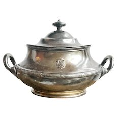 Antique 1907 Silver Lidded Sugar from New England Steamship Co Commonwealth