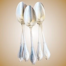 Set of 5 Antique Silver Plated Tiffany & Co Teaspoons