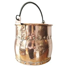 Antique French Copper Riveted Bucket