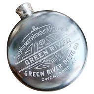 Victorian Era Silver Plated Flask Advertising Green River Whiskey