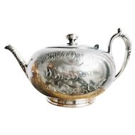 Victorian Era Silver Plated Whiskey Advertising Teapot