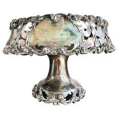Large Victorian Era Silver Plated Fruit Bowl Presented at Notre Dame - Stockbridge