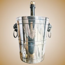 Antique Tiffany & Co Silver Champagne Bucket with Armorial Engraving and Figural Handles