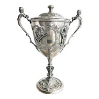 1889 Scottish Silver Plated Military Trophy with Figural Handles
