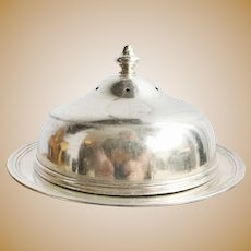 Antique Silver Plated Dome & Plate Set from Rock Island Lines Railroad