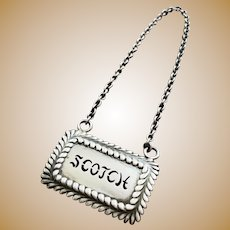 Tiffany & Co Sterling Silver Scotch Decanter Tag