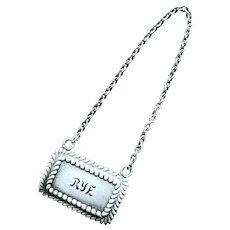 Tiffany & Co Sterling Silver Rye Decanter Tag