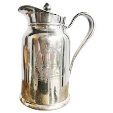 1948 Silver Insulated Water Pitcher from the Plaza Hotel San Antonio