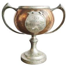 Antique 1918 Copper Billiards Trophy