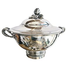 Antique Christofle Silver Tureen with Armorial Engraving