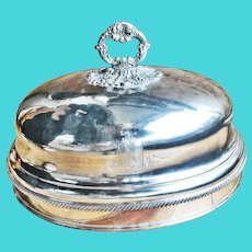 Large Antique Georgian Silver Plated Dome with Armorial Engraving