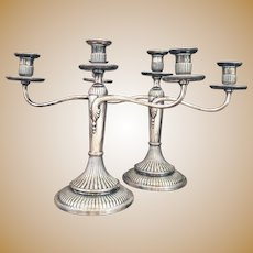 Pair of Antique Tiffany & Co Silver Plated Candelabras