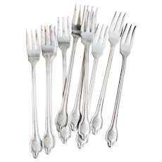 Set of 10 Silver Plated Plaza Hotel Cocktail Forks