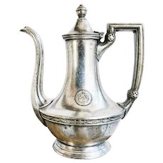 Vintage 1920s Silver Plated Teapot from Hotel Statler