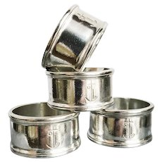Set of 4 Antique Silver Plated Napkin Rings from P&O Ocean Liner