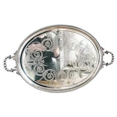 Antique 1865 Silver Plated Illinois Central Railroad Tray