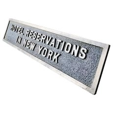 Antique Bronze New York Hotel Reservations Sign