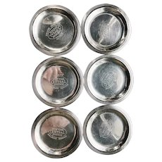 Set of 6 Silver Plated Butter Pats from New York Central Railroad